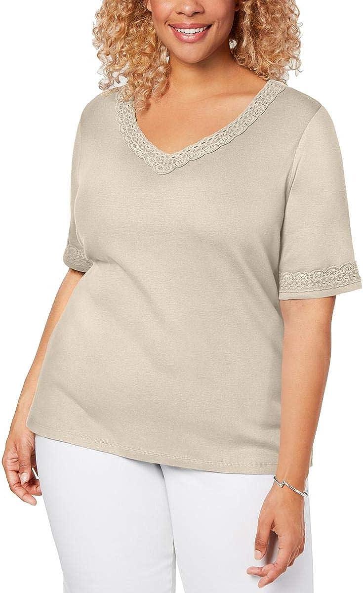 Karen Scott 2021 autumn and winter new Womens Plus T-Shirt Cotton V-Neck Deluxe