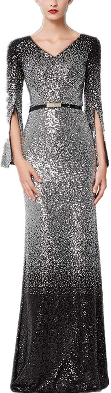 Women Evening Dress Women's Sequin 3 4 Length Sleeve Ladies Dresses for Formal Fancy Evening Christmas New Year Occasions Sequins Cocktail (color   Black, Size   S)