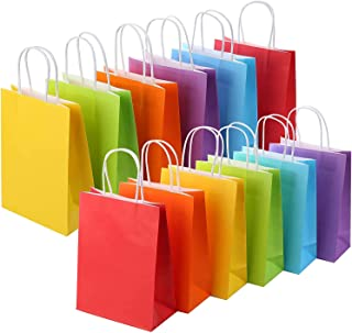36PCS Colorful Paper Gift Bags ONLY 3 COLORS Birthday Party Baby Shower Giveaway Favors - 25x21x8cm (EACH COLOR 12 PIECES)