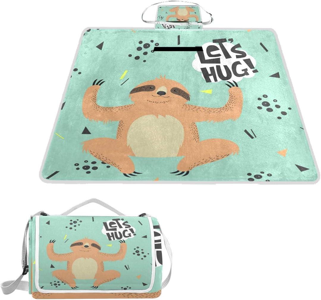 OPRINT Funny Hug Sloth Picnic Tulsa Mall Outdoor Waterproof Save money Blanket for Mat