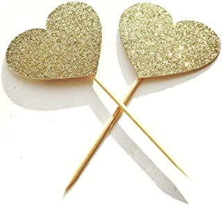 40PCS IFfree Best Heart Cupcake Toppers, Gold Glitter Heart Large Cupcake Toppers Golden Wedding,Weddings, Bridal or Baby ...