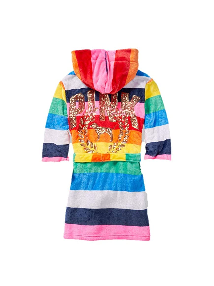 Victoria's Secret Pink Robe Fashion Show Sherpa Lined Rainbow Stripes Gold Sequins Extra Small/Smal