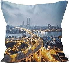 Nine City Aerial View of Shanghai Bridge at Night Burlap Pillow,HD Printing for Couch Sofa Bedroom Livingroom Kitchen Car,18