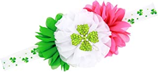 St. Patrick's Day Headband Baby Four Leaf Green Clover Flower Hair Bow Band JHSP06