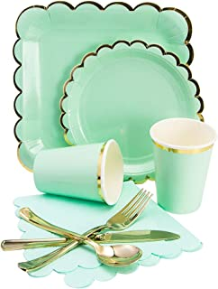 Luxcathy 8 Guests Gold Foil Disposable Tableware Set with 9 Inch & 7 Inch Plates, Cups, Napkins, Cutlery for Wedding, St. Patrick's Day Party, and Gathering