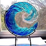 QIRU Ocean Wave Fused Glass Sculpture,Creative Gradient Blue Wave Sculpture Ornament Decoration,Blue Wave, Nautical Sun Catcher with Stand (1PCS) (12in)