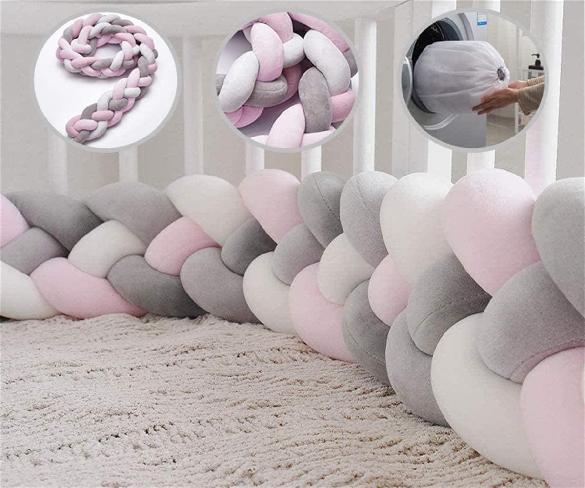 Baby Bedding Bumper Crib Bumpers Soft Knit Plush Pillow Baby Light Blue 1M 3 Strands Crib Bedside Protector Knotted Braided Plush Bumper Nursery Cradle Newborn Gift Nursery D/écor