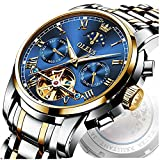 OLEVS Luxury Automatic Watches for Men Blue Gold Mechanical Mens Watch Swiss Waterproof Self Winding Skeleton Stainless Steel Big Man Wristwatch Day Date Moon Phase Relojes Hombre Automatico Luminous