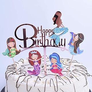 YUINYO Mermaid Glitter Happy Birthday Cake Topper (Acrylic) Mermaid Cake Decoration for Mermaid Baby Shower Birthday Party...