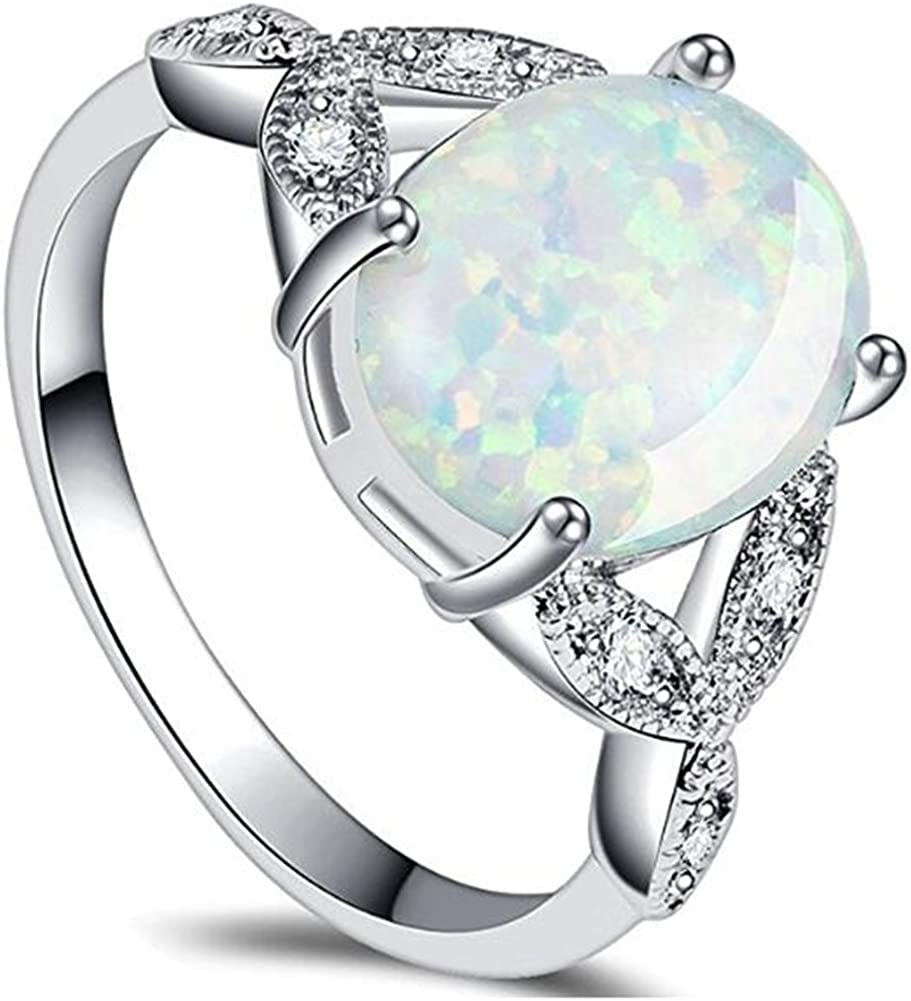 Stainless Steel Oval Shape Created Opal Wedding Engagement Promise Anniversary Valentine Ring