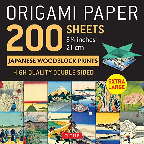 """Origami Paper 200 sheets Japanese Woodblock Prints 8 1/4"""": Extra Large Tuttle Origami Paper: High-Quality Double Sided Origami Sheets Printed with 12 ... Prints (Instructions for 6 Projects Included)"""