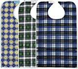 3 Pack Adult Bibs with Crumb Catcher - Waterproof and Reusable Clothing Protectors for Elderly Men and Women