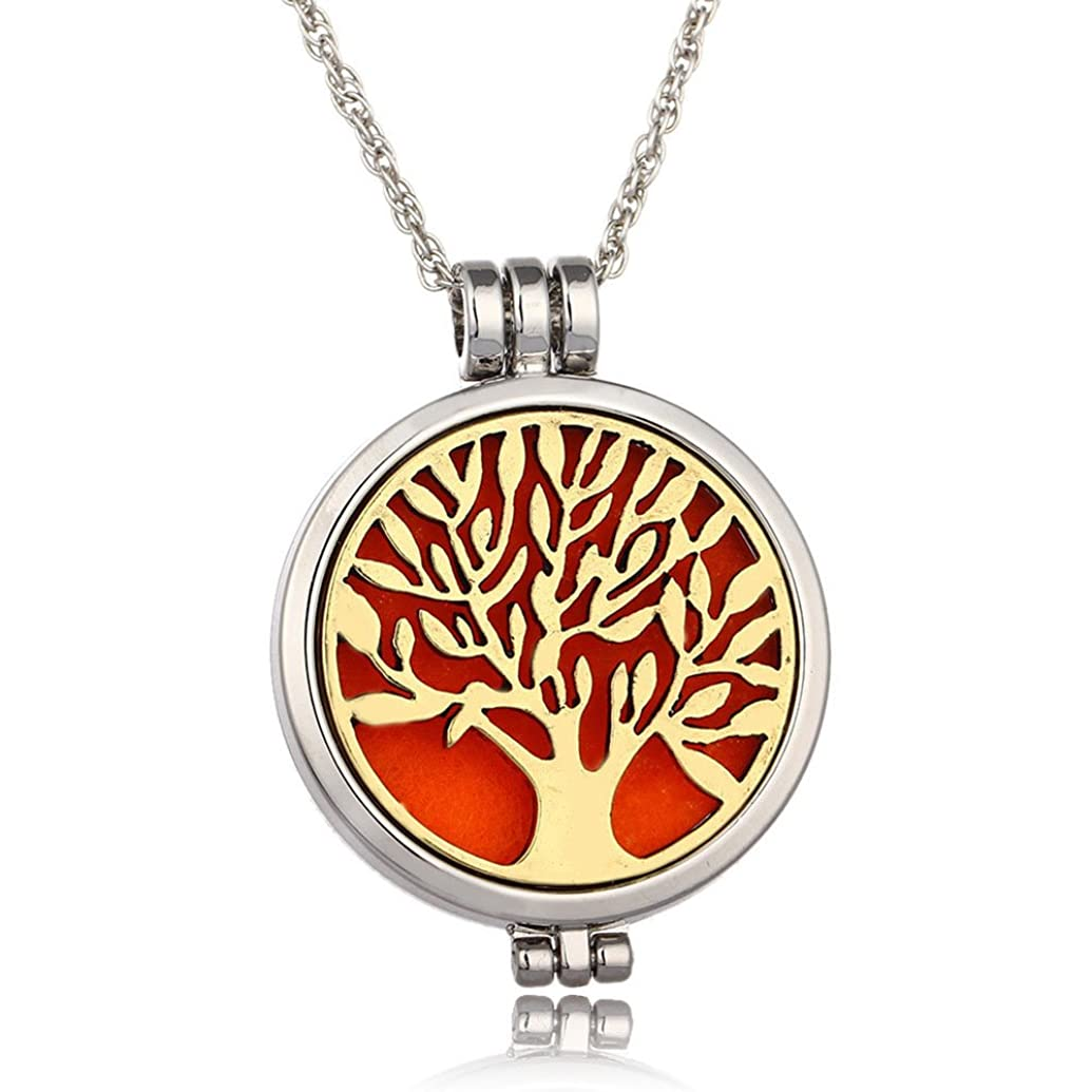 インカ帝国突き刺す盟主Tree of Life 316lステンレススチールEssential Oil Diffuserロケットペンダントネックレス