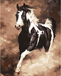 5D Diamond Painting Rhinestone Picturesque Lifelike Horse Gallop Embroidery Wallpaper DIY Cross Stitch Kit Crystal Full Drill Drawing for Adult Tools Home Decoration 25X30cm