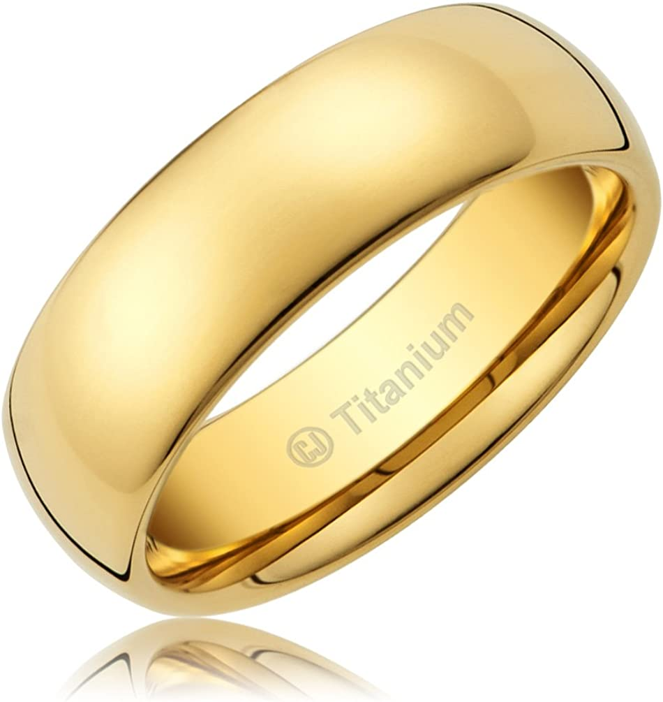 Cavalier Jewelers 8MM Men's Titanium Ring Classic Wedding Band 14K Gold-Plated with Polished Finish [Size 10]