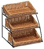 Prestige Wicker Counter Top Display Soporte Tres cestas, Natural