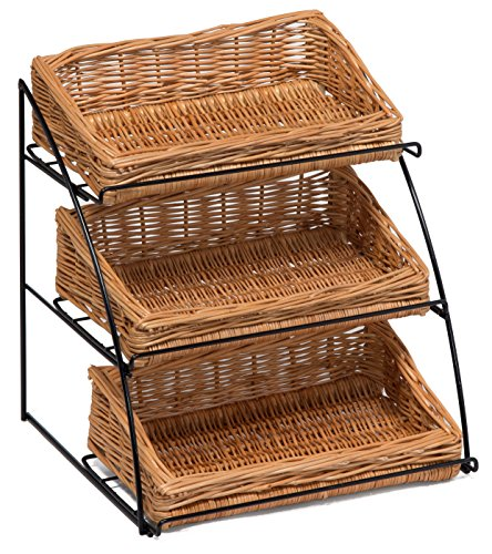 Prestige Wicker Counter Top Display Stand Three Baskets, Wood, Natural, 35 x 20 x 15 cm