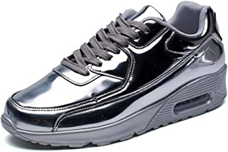 SRY-Shoes Fashion Height Patent Leather Athletic Shoes for Men Sports Shoes Lace Up Style PU Leather Thick-Bottomed Air Cushion
