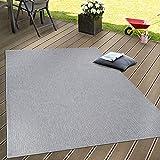 Paco Home In- & Outdoor Flachgewebe Teppich Terrassen Teppiche Natürlicher Look In Grau, Grösse:120x160 cm