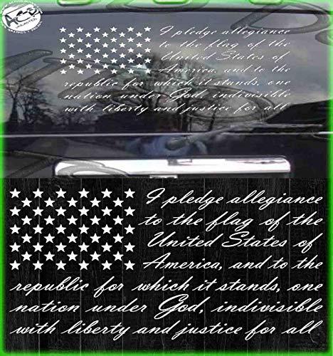 "American Flag Pledge of Allegiance Decal US Vinyl Truck Window Sticker Patriotic (10"" x 16"")"