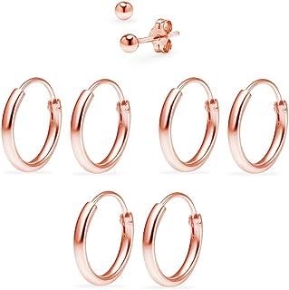 Sterling Silver 3 Pairs of 10mm Endless Hoop Earrings & Ball Stud Earrings Set for Women & Men