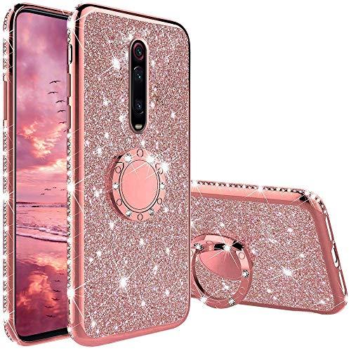Hülle für Xiaomi Mi 9T Pro/Mi 9T, Glitzer Bling Glänzend Strass Diamant Handyhülle mit 360 Grad Ring Ständer Superdünn Stoßfest TPU Silikon Tasche Schutzhülle - Rosé Gold