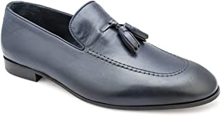 tresmode Men's Classic Tassel Loafers in Blue Leather
