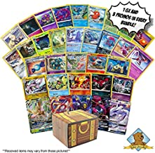 100 Random Pokemon Cards - 1 GX Rare, 3 Holographic Cards, 3 Rare Cards, 3 Promotional Cards, and 90 Common/Uncommons - Includes Golden Groundhog Storage Treasure Chest Box