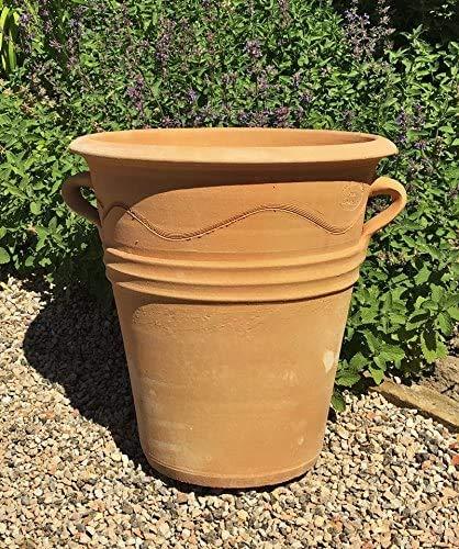 Kreta Keramik | handgefertiger frostfester Terracotta Topf/Pflanzgefäß | 35 cm | Dekorativ auf Balkon, Terrasse oder im Garten | Verschiedene Größen Saliva 35 (neu)
