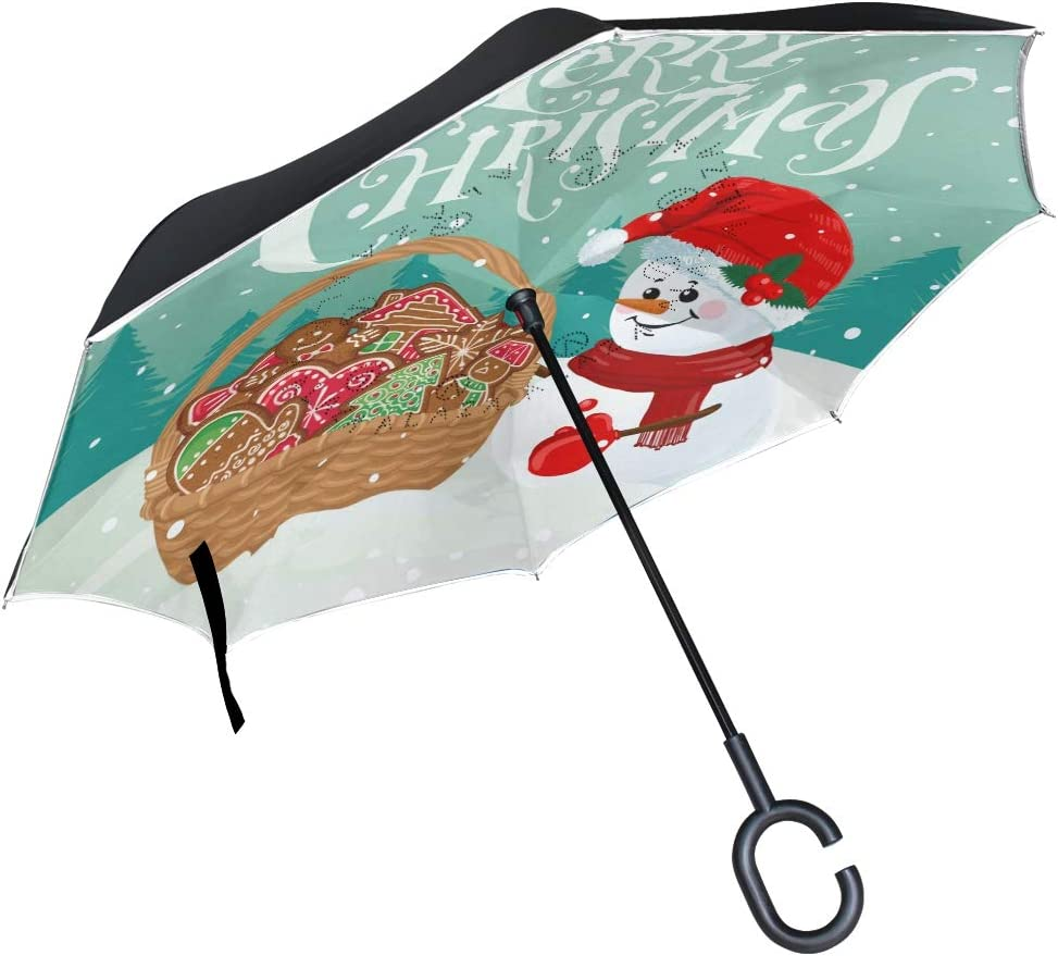 Limited price sale Pfrewn Christmas Snowman Snowflake Many popular brands Inverted Windproof A Umbrella