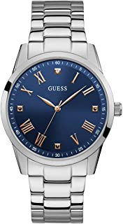 GUESS  Stainless Steel Bracelet Watch with Iconic Blue Genuine Diamond Dial + Rose Gold-Tone Roman Numerals. Color: Silver + Rose Gold-Tone/Blue (Model U1194G2)