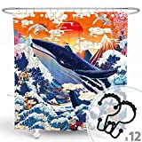 DESIHOM Japanese Shower Curtain Anime Shower Curtain Great Wave Shower Curtain Cool Shower Curtain Blue Whale Novelty Shower Curtain Asian Koi Fish Polyester Waterproof Shower Curtain 72x72 Inch