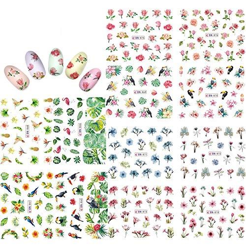 KADS Nail Art Aufkleber Full Wrap Space Design-Blume Blätter Flamingos Nail Sticker Tattoo Sommer Nagel Decals