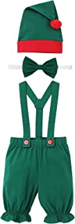 Unisex Baby Girl Boy 1st Christmas Outfit Suspenders Skirt+Hat+Collar or Pants+Bowtie+Hat Santa Claus Elf Costume Photo Props
