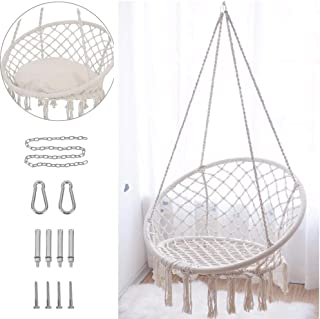 Hammock Chair Macrame Swing with Hanging Hardware Kit Cussion,330 Pound Capacity,Handmade Knitted Cotton Rope Hanging Chair, for Indoor Outdoor Home, Patio, Deck, Yard, Garden