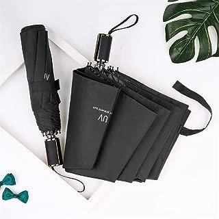 AUWANGAOFEI [UV Thick Black Plastic] Small Fresh Solid Color Sunshade Black Plastic Folding Reinforcement Umbrella (Color : Black)