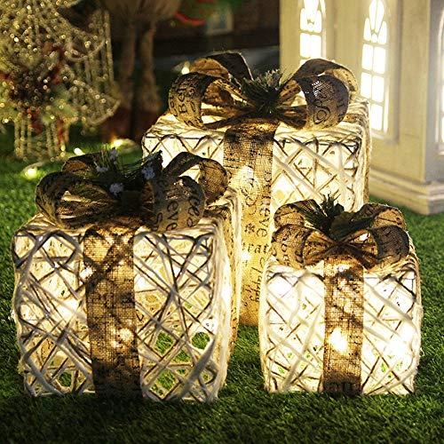 LTSWEET WeihnachtsbaumDekoration 3 Teiliges Set LED Beleuchtete Geschenkbox Weihnachtsbeleuchtung Indoor Draussen Weihnachten Dekoration Batteriebetrieben,A