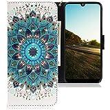 CLM-Tech Hülle kompatibel mit Motorola Moto E6 Plus - Tasche aus Kunstleder - Klapphülle mit Ständer & Kartenfächern, Blume Ornament grün