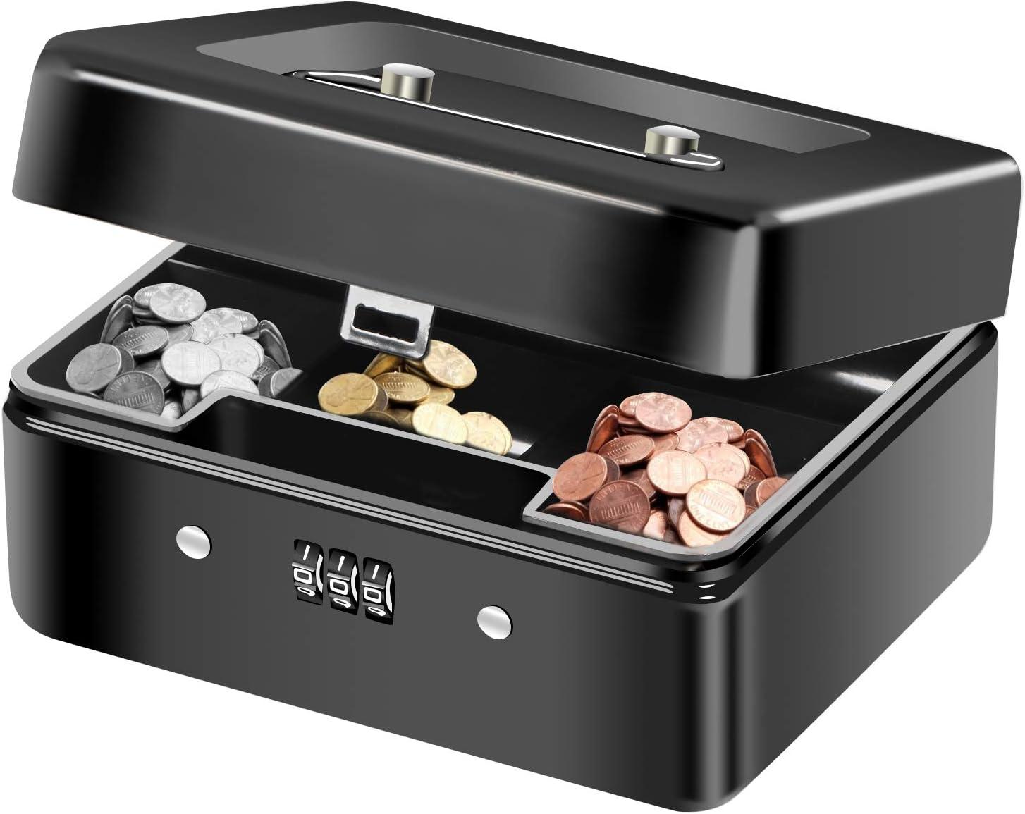 Caja Fuerte Portátil, Diyife Pequeña Caja para Dinero con Portamonedas Interior para Monedas, Billetes, Cheques, Monedas, Joyas, Medicamentos (Negro)