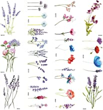 COKTAK 12Pieces/Lot 3D Watercolor Lavender Flower Temporary Tattoos For Women Body Art Arm Fake Flora Adults Tattoo Sheet Sticker Waterproof Girls Tatoos Paper