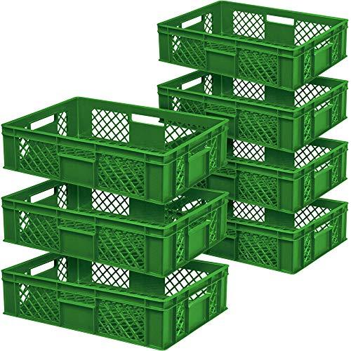 7x Eurobehälter durchbrochen/Stapelkorb, Industriequalität, lebensmittelecht, LxBxH 600x400x150 mm, grün