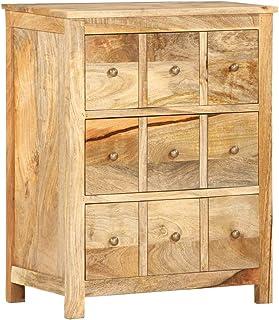 vidaXL Solid Mango Wood Side Cabinet Drawer Sideboard Side Organizer Cabinet Freestanding Entryway Console Table Lowboard ...