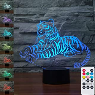 Animal Tiger 3D Illusion Lamps Nightlight with Remote Control, 7 Colors Touch Switch Table Desk Lamps Xmas Birthday Toys Gifts for Baby Nursery Toddler