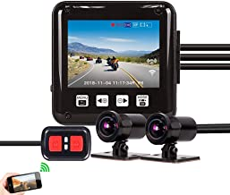 Vsysto Dash cam/Sport Accident Proof Camera DVR Full Body Waterproof IMX323 Front and Rear View Lens Driving Recorder for Motorcycle/Bike with 2'' Screen(1080p+1080P)