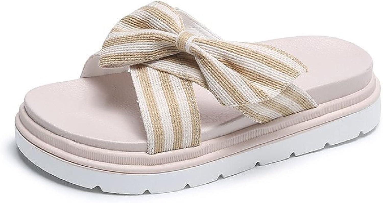 Non-Slip Elegant Slides Criss Cross Straps Bowknot Dress Party Slip on Platform for Women Slipper Sandals