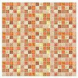 Kitchen-dream Papel Pintado Mosaico Papel Tapiz de Mosaico para baño Cocina Inodoro Pegatinas de Pared Autoadhesivas Fondo de Pantalla de PVC Impermeables a Prueba de Aceite 2 Piezas 1 * 0.2m