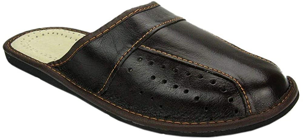 World of Leather Mens House Slippers   Genuine Leather   02