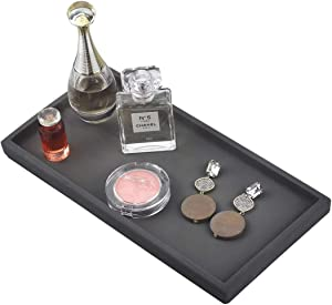 FREELOVE Concrete Serving Trays for Perfume Weed Jewelry Food, Decorative Tray Bath Vanity Counter Bathroom Car Coffee Table(Dark Grey E, Rectangle 5.3'' by 11'')