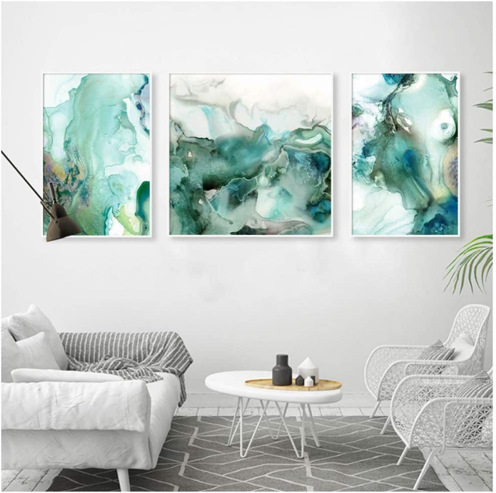 ASFDF Mint Green Marble Wall Art Pictures Canvas Painting Gallery Posters and Prints Interior for Living Room Home Decor Print 40cmX50cm No Frame