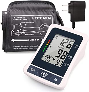 Blood Pressure Monitor Upper Arm, 2 Users, 120 Reading Memory, FDA Approved, Automatic Blood Pressure Machine with Medium Cuff, Digital BP Machine with Large Screen & Adapter,
